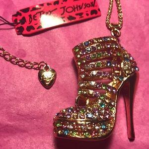 Betsy Johnson high heel necklace